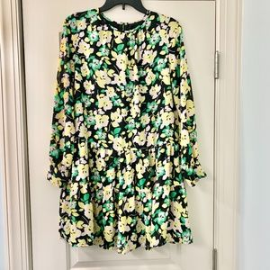 Who What Wear Yellow Floral Ruffle Dress Sz Small